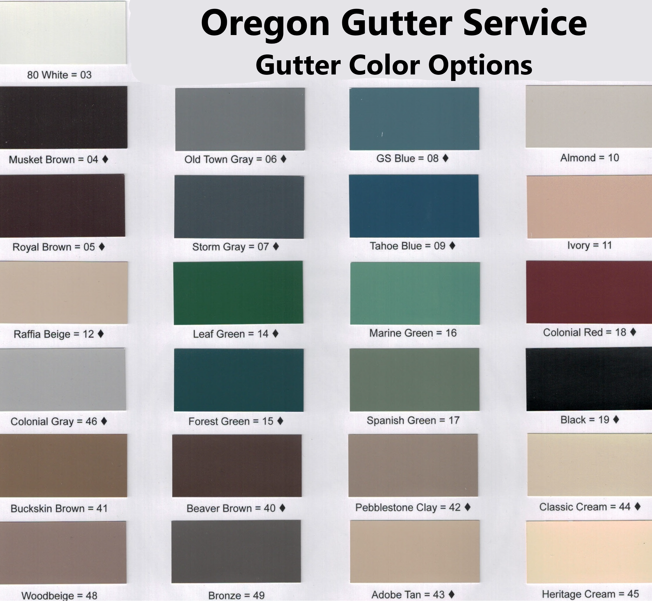 Available Gutter Color Choices